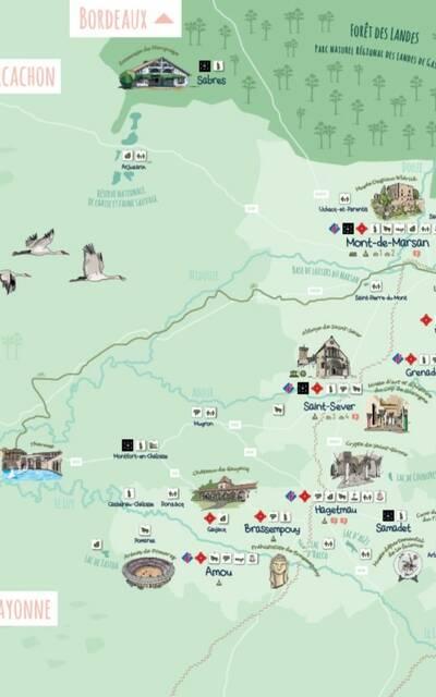 Carte touristique Landes Intérieures 2020