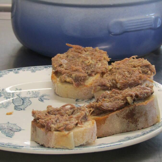 Tartines de confit de canard - Landes Chalosse